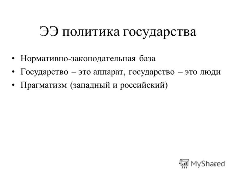 ЭЭ политика государства Нормативно-законодательная база Государство – это аппарат, государство – это люди Прагматизм (западный и российский) 5