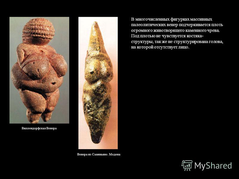 Виллендорфская Венера Венера из Савиньяно. Модена В многочисленных фигурках массивных палеолитических венер подчеркивается плоть огромного животворящего каменного чрева. Под плотью не чувствуется костяка- структуры, так же не структурирована голова,