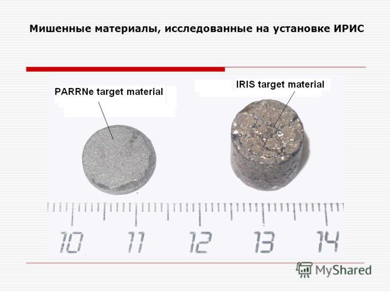 Мишенные материалы, исследованные на установке ИРИС