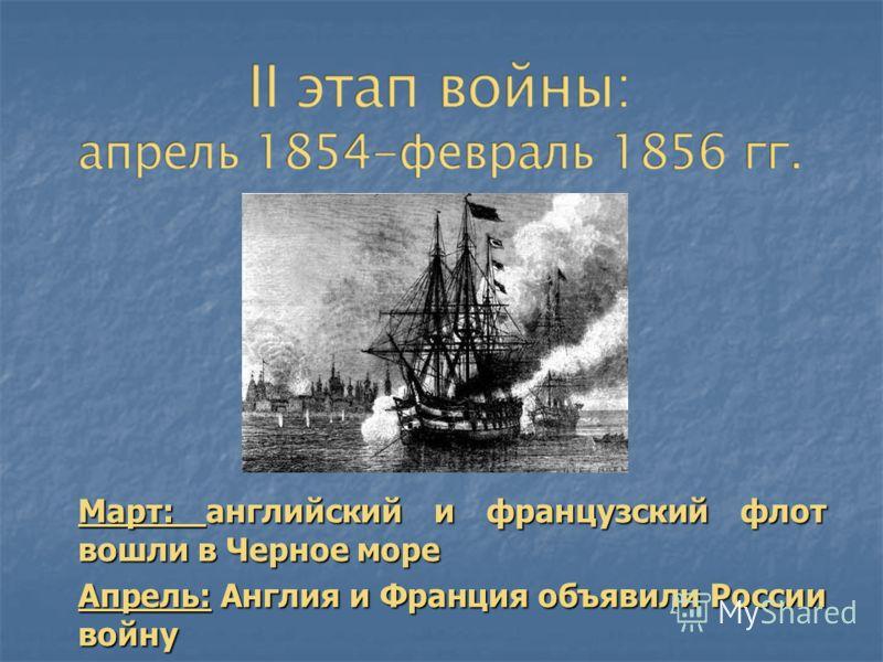 Март: английский и французский флот вошли в Черное море Апрель: Англия и Франция объявили России войну Сентябрь – Десант в Крыму