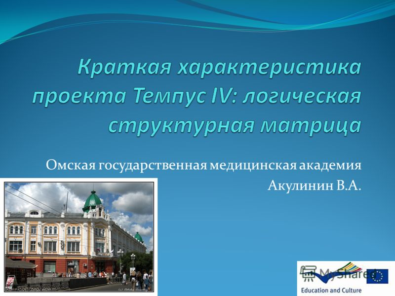Омская государственная медицинская академия Акулинин В.А.