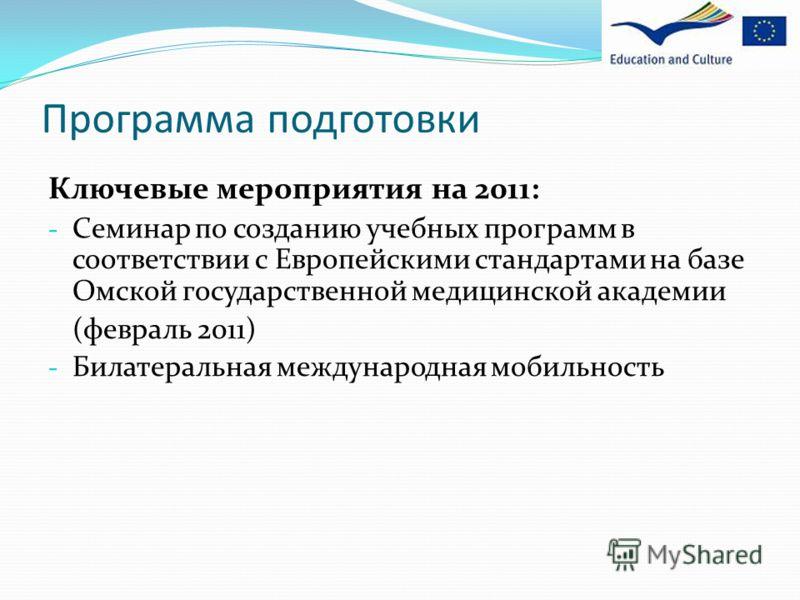 Программа подготовки Ключевые мероприятия на 2011: - Семинар по созданию учебных программ в соответствии с Европейскими стандартами на базе Омской государственной медицинской академии (февраль 2011) - Билатеральная международная мобильность