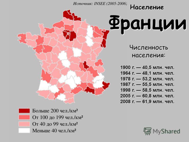 Население Франции Численность населения: 1900 г. 40,5 млн. чел. 1964 г. 48,1 млн. чел. 1978 г. 53,2 млн. чел. 1987 г. 55,5 млн. чел. 1998 г. 58,5 млн. чел. 2005 г. 60,8 млн. чел. 2008 г. 61,9 млн. чел.