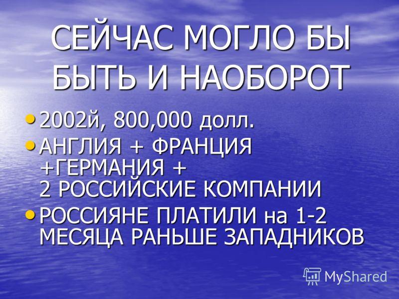 СЕЙЧАС МОГЛО БЫ БЫТЬ И НАОБОРОТ 2002й, 800,000 долл. 2002й, 800,000 долл. АНГЛИЯ + ФРАНЦИЯ +ГЕРМАНИЯ + 2 РОССИЙСКИЕ КОМПАНИИ АНГЛИЯ + ФРАНЦИЯ +ГЕРМАНИЯ + 2 РОССИЙСКИЕ КОМПАНИИ РОССИЯНЕ ПЛАТИЛИ на 1-2 МЕСЯЦА РАНЬШЕ ЗАПАДНИКОВ РОССИЯНЕ ПЛАТИЛИ на 1-2 М