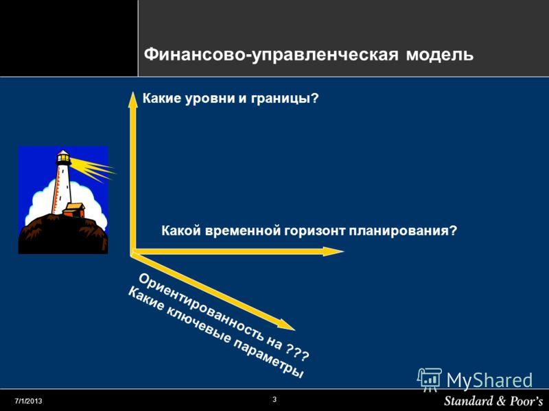 3 7/1/2013 Финансово-управленческая модель Какие уровни и границы? Какой временной горизонт планирования? Ориентированность на ??? Какие ключевые параметры