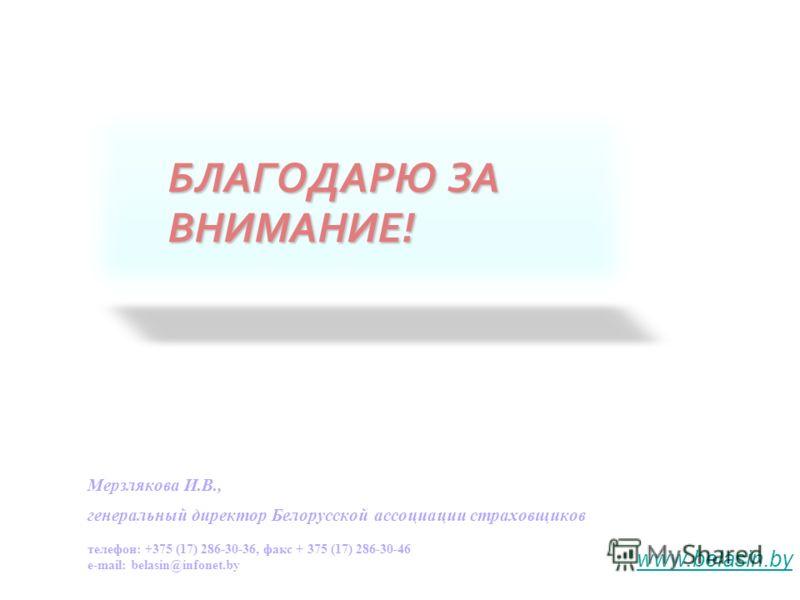 БЛАГОДАРЮ ЗА ВНИМАНИЕ! Мерзлякова И.В., генеральный директор Белорусской ассоциации страховщиков телефон: +375 (17) 286-30-36, факс + 375 (17) 286-30-46 e-mail: belasin@infonet.by www.belasin.by