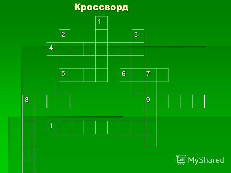 Кроссворд1 23 4 567 89 1