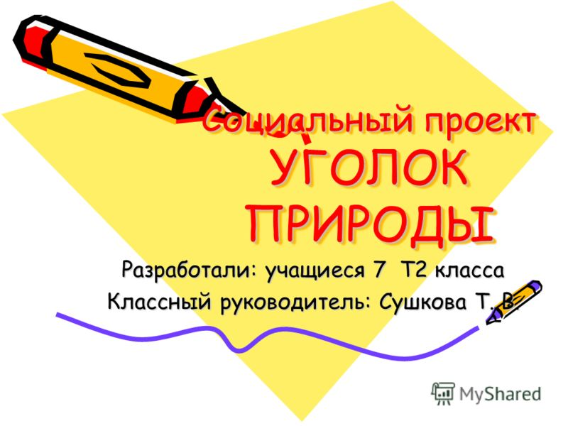 Социальный проект УГОЛОК ПРИРОДЫ Разработали: учащиеся 7 Т2 класса Классный руководитель: Сушкова Т. В.