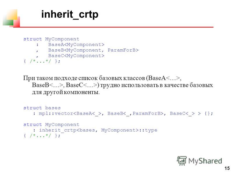 15 inherit_crtp struct MyComponent : BaseA, BaseB, BaseC { /*...*/ }; При таком подходе список базовых классов (BaseA, BaseB, BaseC ) трудно использовать в качестве базовых для другой компоненты. struct bases : mpl::vector, BaseB, BaseC > {}; struct