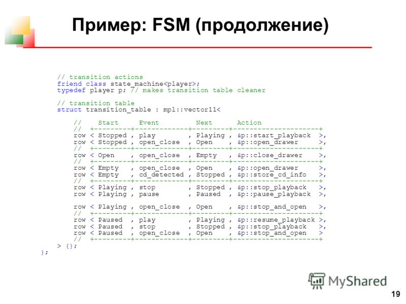 19 Пример: FSM (продолжение) // transition actions friend class state_machine ; typedef player p; // makes transition table cleaner // transition table struct transition_table : mpl::vector11< // Start Event Next Action // +---------+-------------+--