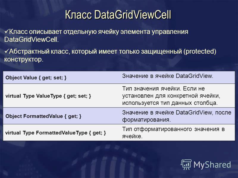 Класс DataGridViewCell Класс описывает отдельную ячейку элемента управления DataGridViewCell. Абстрактный класс, который имеет только защищенный (protected) конструктор. Object Value { get; set; } Значение в ячейке DataGridView. virtual Type ValueTyp