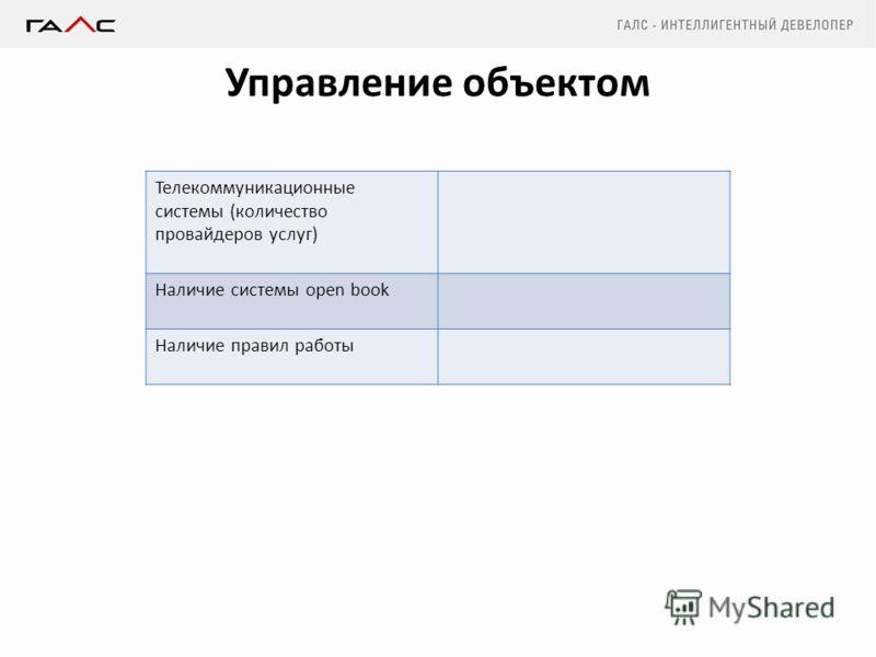 Управление объектом Телекоммуникационные системы (количество провайдеров услуг) Наличие системы open book Наличие правил работы