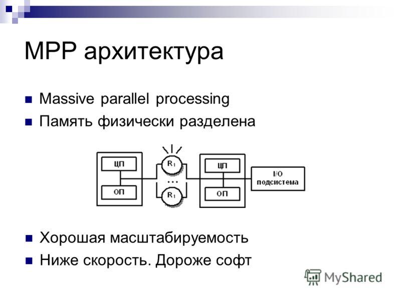 MPP архитектура Massive parallel processing Память физически разделена Хорошая масштабируемость Ниже скорость. Дороже софт