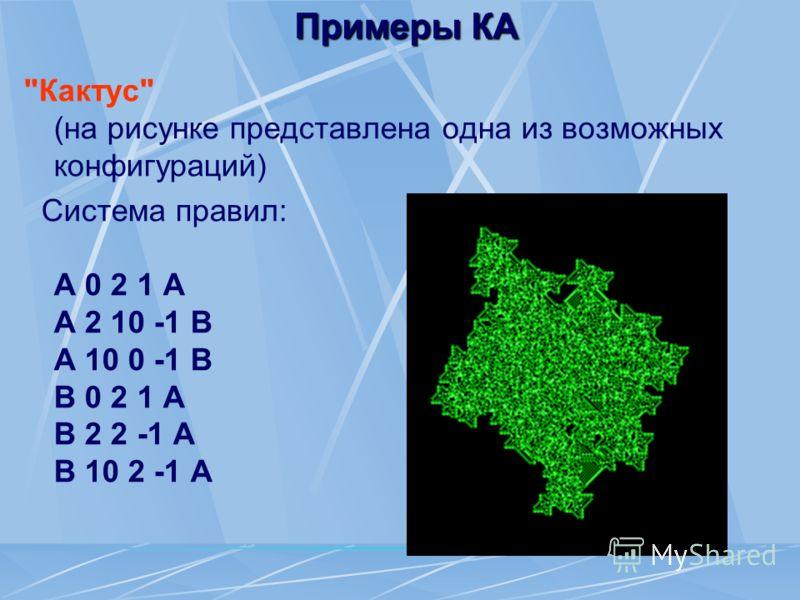 Примеры КА Кактус (на рисунке представлена одна из возможных конфигураций) Система правил: A 0 2 1 A A 2 10 -1 B A 10 0 -1 B B 0 2 1 A B 2 2 -1 A B 10 2 -1 A