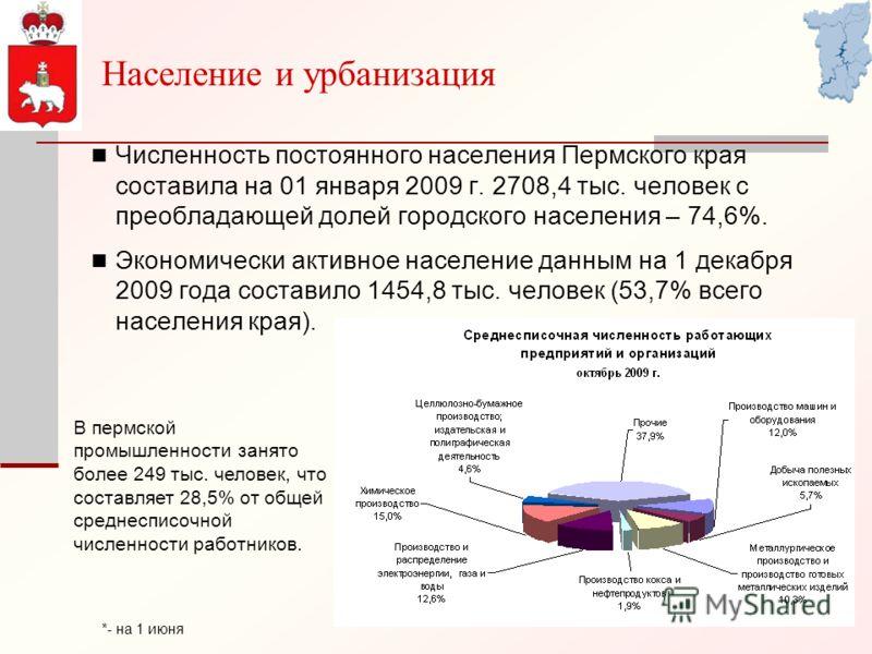 Численность постоянного населения Пермского края составила на 01 января 2009 г. 2708,4 тыс. человек с преобладающей долей городского населения – 74,6%. Экономически активное население данным на 1 декабря 2009 года составило 1454,8 тыс. человек (53,7%