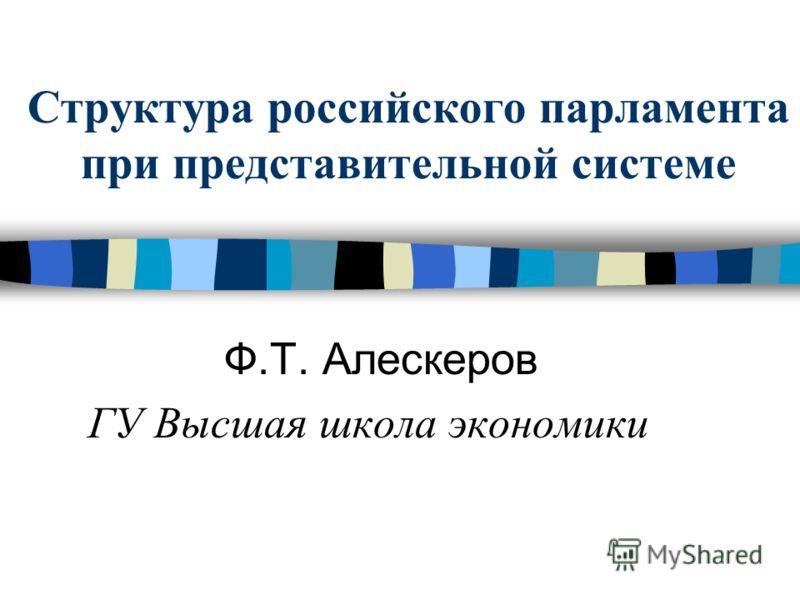 Структура российского парламента при представительной системе Ф.Т. Алескеров ГУ Высшая школа экономики