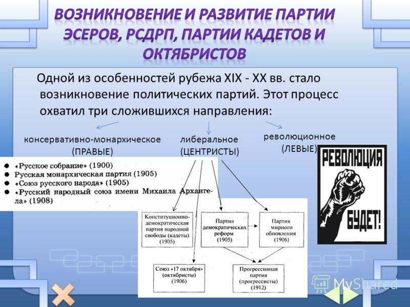Одной из особенностей рубежа XIX - XX вв. стало возникновение политических партий. Этот процесс охватил три сложившихся направления: консервативно-монархическое (ПРАВЫЕ) либеральное (ЦЕНТРИСТЫ) революционное (ЛЕВЫЕ)
