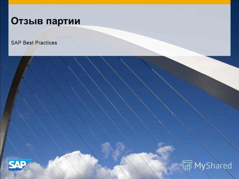 Отзыв партии SAP Best Practices