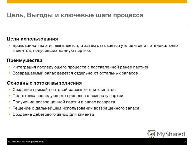 ©2011 SAP AG. All rights reserved.2 Цель, Выгоды и ключевые шаги процесса Цели использования Бракованная партия выявляется, а затем отзывается у клиентов и потенциальных клиентов, получивших данную партию. Преимущества Интеграция последующего процесс