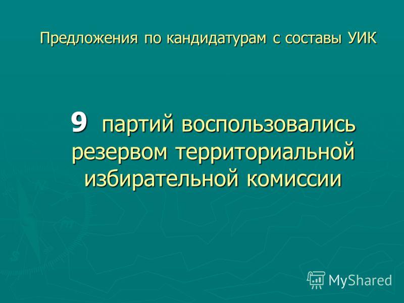 Предложения по кандидатурам с составы УИК 9 партий воспользовались резервом территориальной избирательной комиссии
