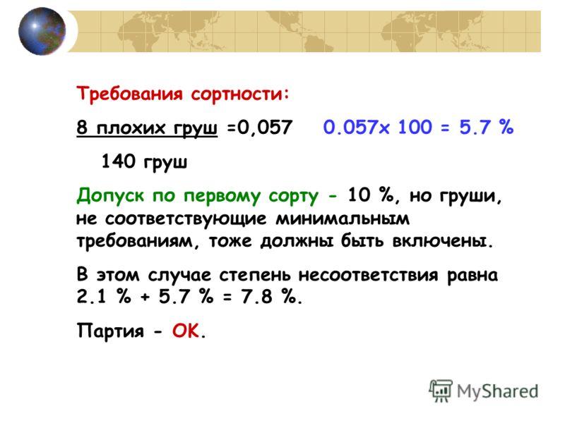 Требования сортности: 8 плохих груш =0,057 0.057x 100 = 5.7 % 140 груш Допуск по первому сорту - 10 %, но груши, не соответствующие минимальным требованиям, тоже должны быть включены. В этом случае степень несоответствия равна 2.1 % + 5.7 % = 7.8 %.