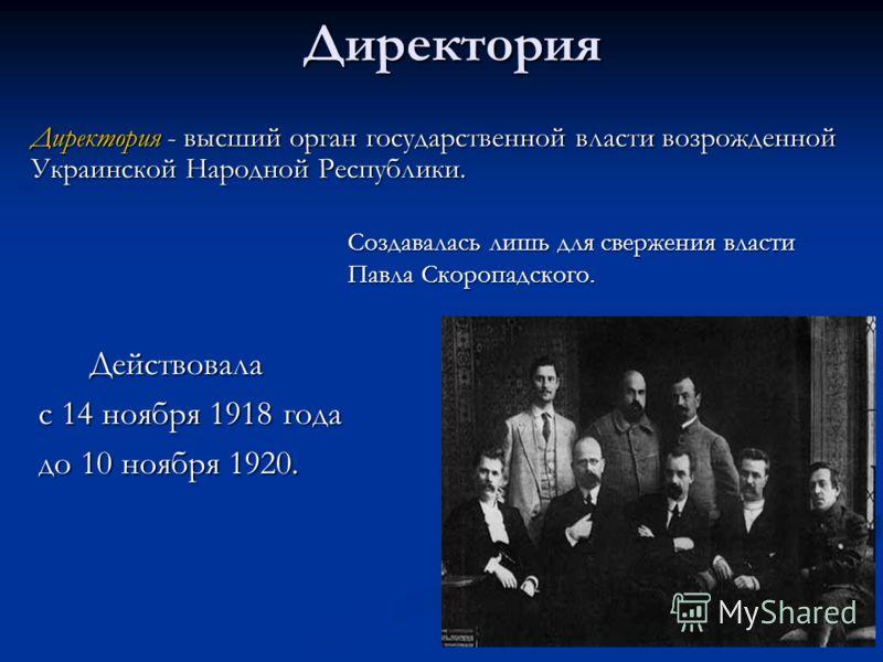Директория Действовала Действовала с 14 ноября 1918 года до 10 ноября 1920. Директория - высший орган государственной власти возрожденной Украинской Народной Республики. Создавалась лишь для свержения власти Павла Скоропадского.