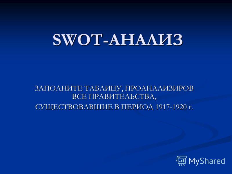 SWOT-АНАЛИЗ ЗАПОЛНИТЕ ТАБЛИЦУ, ПРОАНАЛИЗИРОВ ВСЕ ПРАВИТЕЛЬСТВА, СУЩЕСТВОВАВШИЕ В ПЕРИОД 1917-1920 г.
