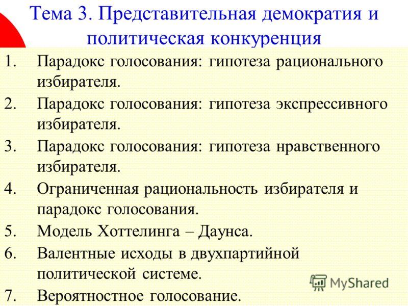 1 Тема 3. Представительная демократия и политическая конкуренция 1.Парадокс голосования: гипотеза рационального избирателя. 2.Парадокс голосования: гипотеза экспрессивного избирателя. 3.Парадокс голосования: гипотеза нравственного избирателя. 4.Огран