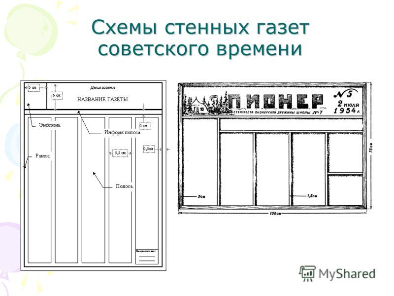 Схемы стенных газет советского времени
