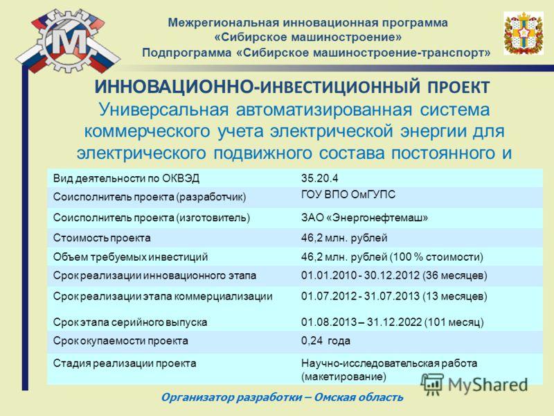 ИННОВАЦИОННО- ИНВЕСТИЦИОННЫЙ ПРОЕКТ Межрегиональная инновационная программа «Сибирское машиностроение» Подпрограмма «Сибирское машиностроение-транспорт» Универсальная автоматизированная система коммерческого учета электрической энергии для электричес