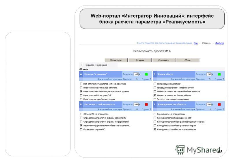 65 Web-портал «Интегратор Инноваций»: интерфейс блока расчета параметра «Реализуемость»