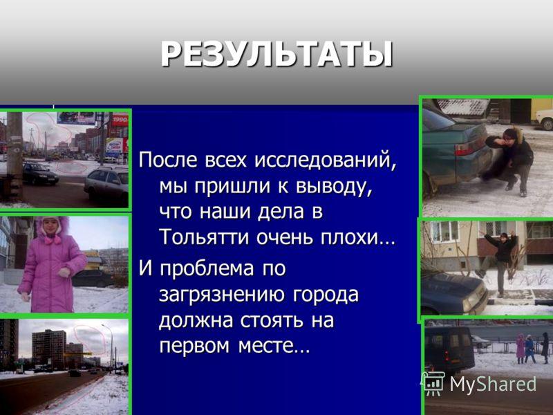 РЕЗУЛЬТАТЫПосле всех исследований, мы пришли к выводу, что наши дела в Тольятти очень плохи… И проблема по загрязнению города должна стоять на первом месте…