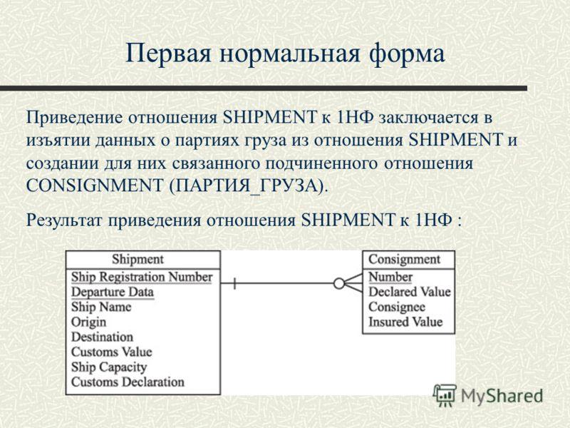 Первая нормальная форма Приведение отношения SHIPMENT к 1НФ заключается в изъятии данных о партиях груза из отношения SHIPMENT и создании для них связанного подчиненного отношения CONSIGNMENT (ПАРТИЯ_ГРУЗА). Результат приведения отношения SHIPMENT к