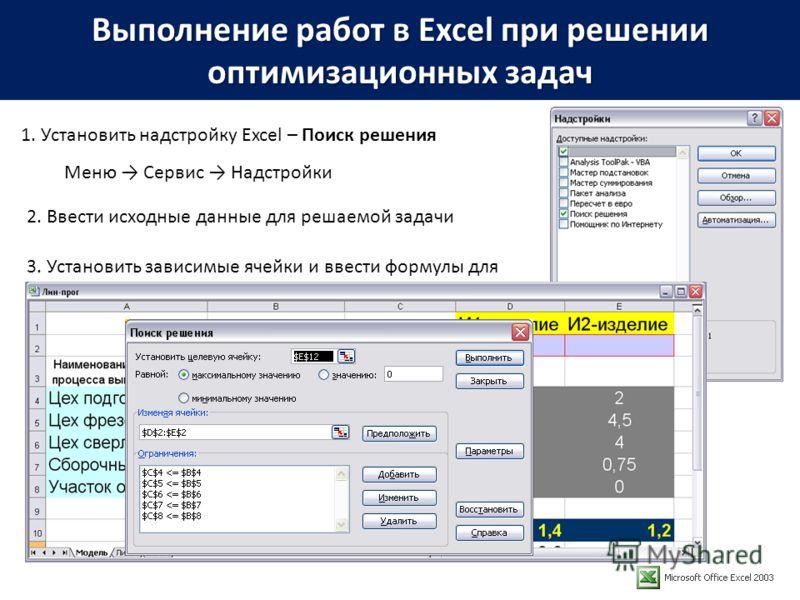 Выполнение работ в Excel при решении оптимизационных задач 1. Установить надстройку Excel – Поиск решения Меню Сервис Надстройки 2. Ввести исходные данные для решаемой задачи 3. Установить зависимые ячейки и ввести формулы для вычислений 4. Вызвать п