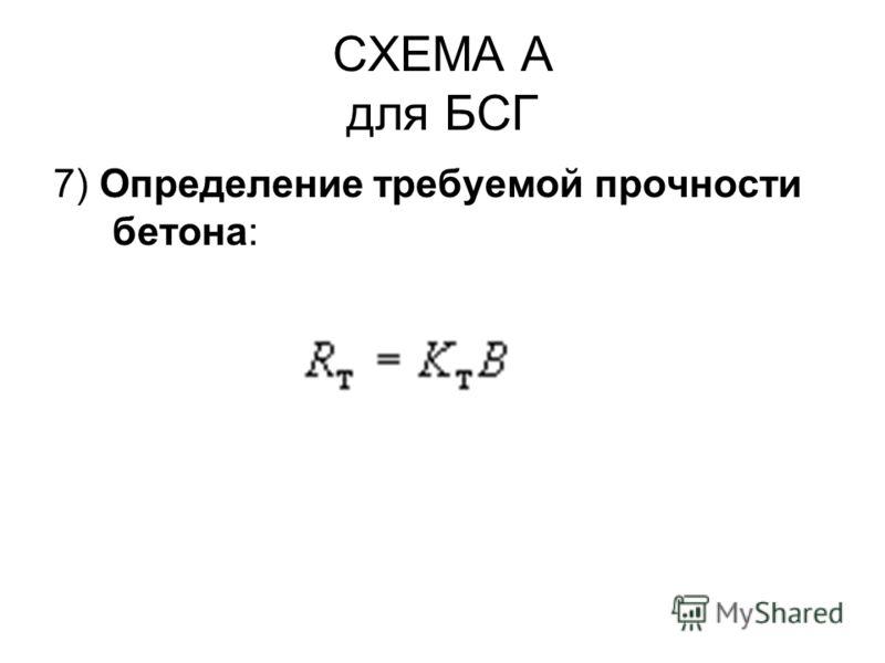 СХЕМА А для БСГ 7) Определение требуемой прочности бетона: