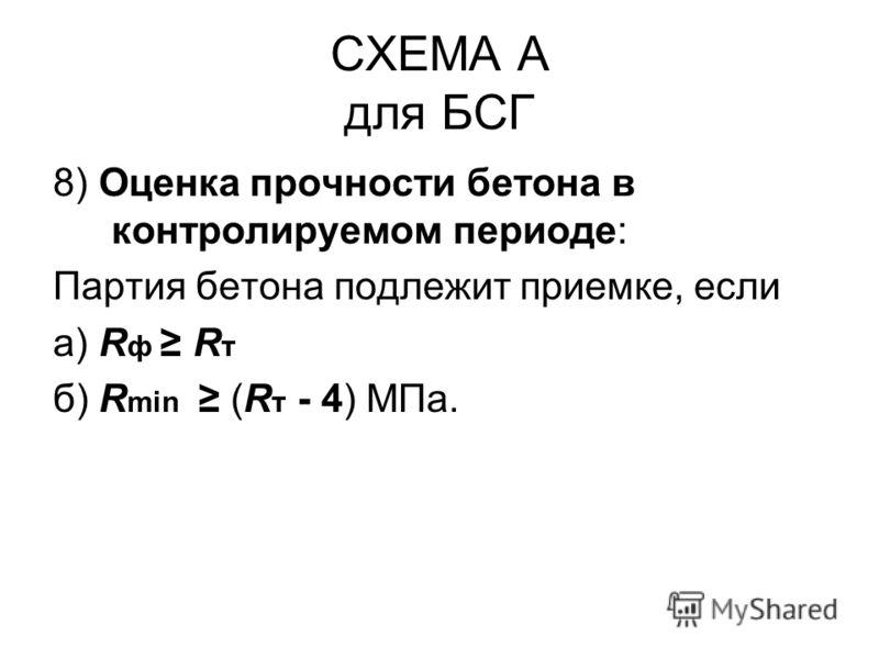 СХЕМА А для БСГ 8) Оценка прочности бетона в контролируемом периоде: Партия бетона подлежит приемке, если а) R ф R т б) R min (R т - 4) МПа.
