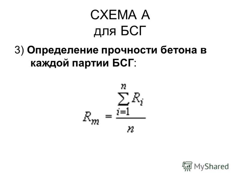 СХЕМА А для БСГ 3) Определение прочности бетона в каждой партии БСГ: