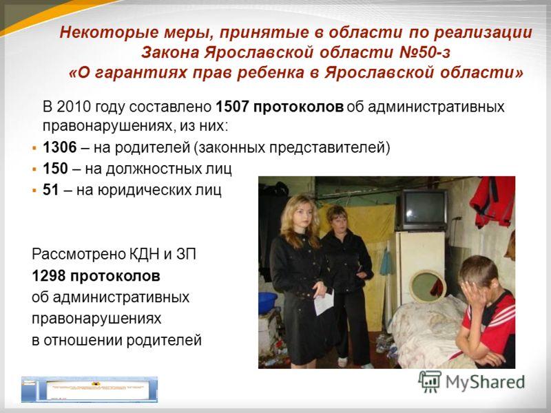 Некоторые меры, принятые в области по реализации Закона Ярославской области 50-з «О гарантиях прав ребенка в Ярославской области» В 2010 году составлено 1507 протоколов об административных правонарушениях, из них: 1306 – на родителей (законных предст