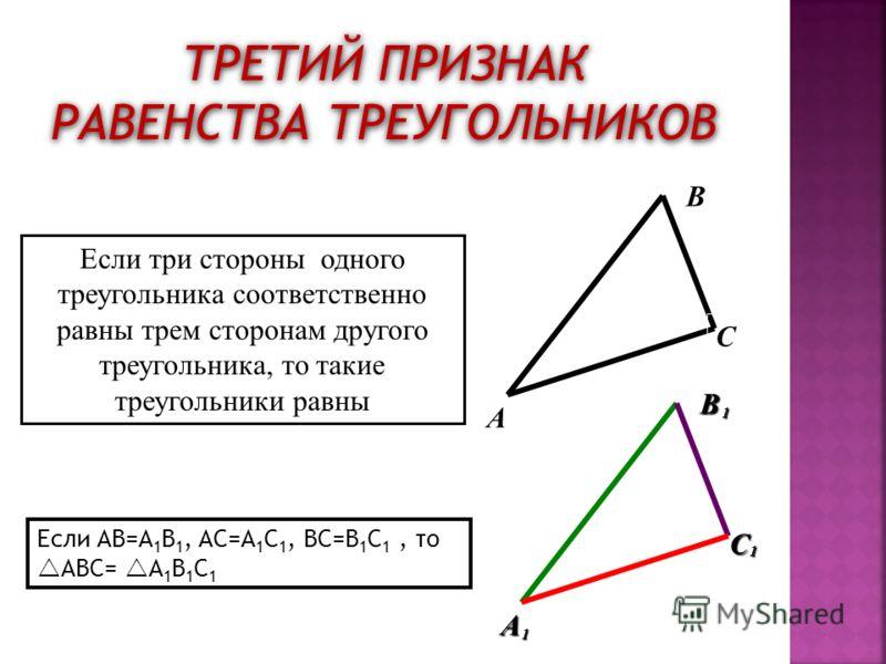 ТРЕТИЙ ПРИЗНАК РАВЕНСТВА ТРЕУГОЛЬНИКОВ A B C BA C 1 1 1 Если три стороны одного треугольника соответственно равны трем сторонам другого треугольника, то такие треугольники равны Если AB=A 1 B 1, AC=A 1 C 1, BC=B 1 C 1, то ABC= A 1 B 1 C 1