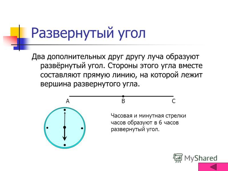 Развернутый угол Два дополнительных друг другу луча образуют развёрнутый угол. Стороны этого угла вместе составляют прямую линию, на которой лежит вершина развернутого угла. АВС Часовая и минутная стрелки часов образуют в 6 часов развернутый угол.