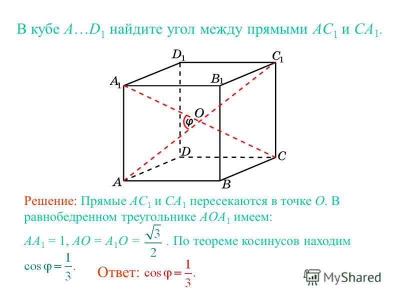 В кубе A…D 1 найдите угол между прямыми AС 1 и CA 1. Ответ: Решение: Прямые AC 1 и CA 1 пересекаются в точке O. В равнобедренном треугольнике AOA 1 имеем: AA 1 = 1, AO = A 1 O =. По теореме косинусов находим