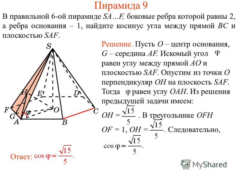В правильной 6-ой пирамиде SA…F, боковые ребра которой равны 2, а ребра основания – 1, найдите косинус угла между прямой BC и плоскостью SAF. Ответ: Решение. Пусть O – центр основания, G – середина AF. Искомый угол равен углу между прямой AO и плоско