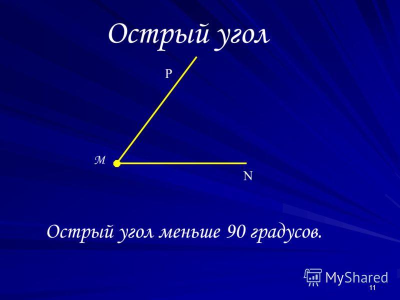 11 Острый угол M N P Острый угол меньше 90 градусов.
