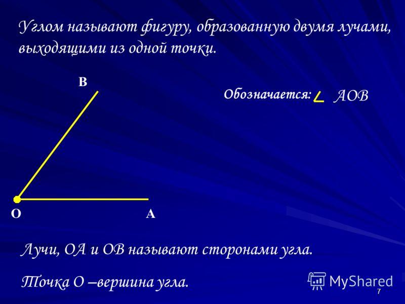 7 Углом называют фигуру, образованную двумя лучами, выходящими из одной точки. Лучи, OA и OB называют сторонами угла. Точка O –вершина угла. OA B Обозначается: AOB