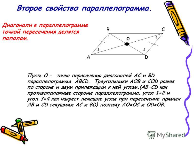 Второе свойство параллелограмма. Диагонали в параллелограмме точкой пересечения делятся пополам. A BC D Пусть O - точка пересечения диагоналей AC и BD параллелограмма ABCD. Треугольники AOB и COD равны по стороне и двум прилежащим к ней углам.(AB=CD