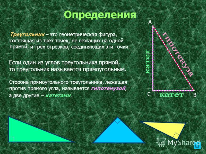 Определения Если один из углов треугольника прямой, то треугольник называется прямоугольным. А В С Сторона прямоугольного треугольника, лежащая против прямого угла, называется гипотенузой, а две другие – катетами. Треугольник – это геометрическая фиг