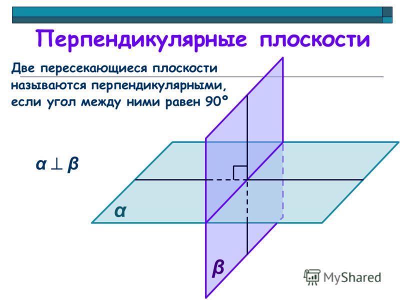 Перпендикулярные плоскости Две пересекающиеся плоскости называются перпендикулярными, если угол между ними равен 90º α α β β