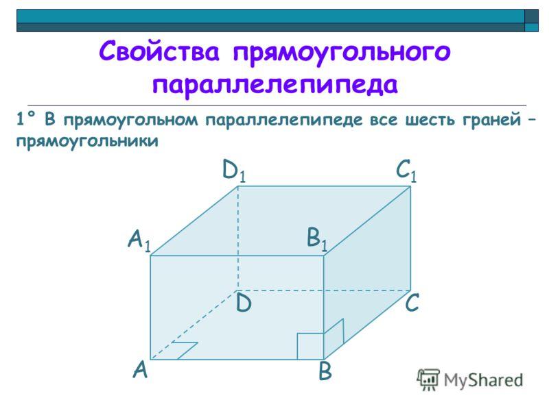 Свойства прямоугольного параллелепипеда 1° В прямоугольном параллелепипеде все шесть граней – прямоугольники А А1А1 D C B B1B1 C1C1 D1D1