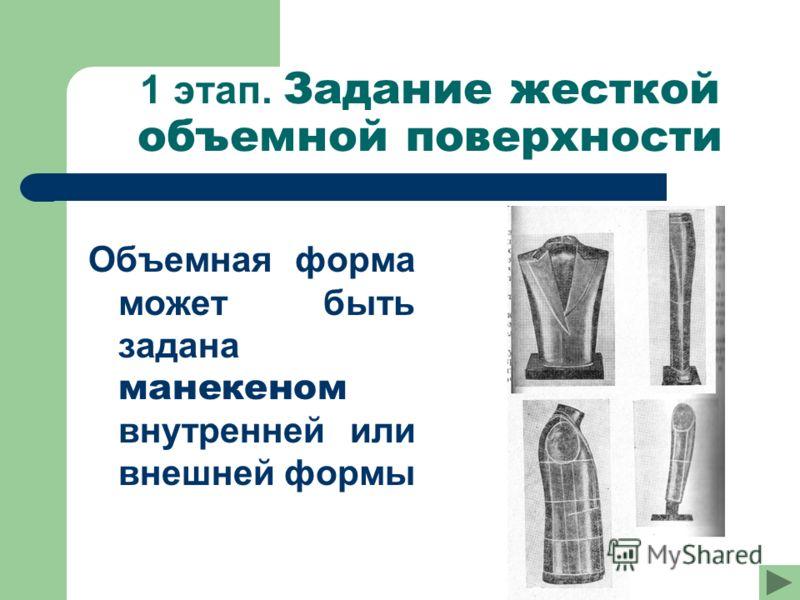 1 этап. Задание жесткой объемной поверхности Объемная форма может быть задана манекеном внутренней или внешней формы
