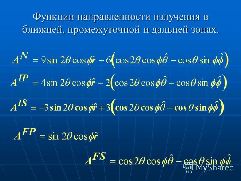 Функции направленности излучения в ближней, промежуточной и дальней зонах.